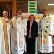 image of bishop Saterlee, pastor Blank, Judy Blank, and pastor Werner