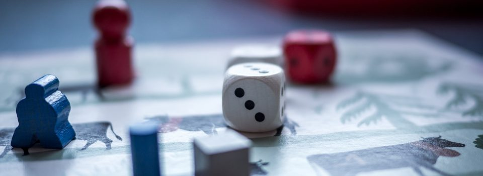 board game, meeples and dice